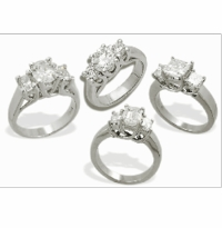 Luccia Trellis Setting Three Stone Cubic Zirconia Anniversary Engagement Rings