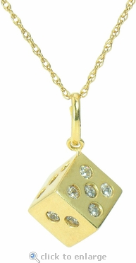 Lucky Dice Burnished Set Cubic Zirconia Round Pendant