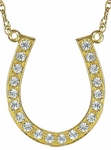 Lucky Horseshoe Pave Set Round Cubic Zirconia Necklace - Small