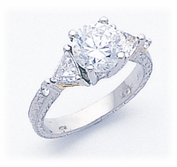 Luello 1.5 Carat Round Cubic Zirconia with Trillions Antique Estate Style Solitaire