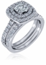 Lunette 1 Carat Cushion Cubic Zirconia Double Halo Pave Cathedral Wedding Set
