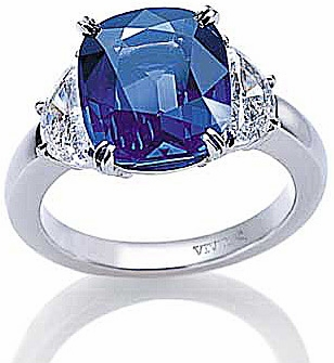 Lunnaca 7 Carat Cushion Cut Man Made Sapphire and Half Moon Cubic Zirconia Engagement Ring