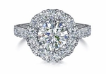 Luxon 2 Carat Cubic Zirconia Round Halo Antique Vintage Cathedral Engagement Ring
