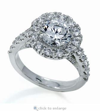 Luxon 2 Carat Cubic Zirconia Round Halo Pave Cathedral Engagement Ring