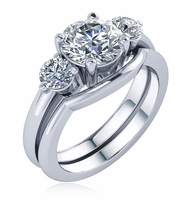 Luxor 1.5 Carat Round Three Stone Cubic Zirconia Contoured Wedding Set