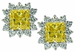 Luxora 1.5 Carat Princess Cut Square Cubic Zirconia Cluster Earrings