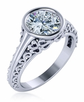 Madrid 1.5 Carat Round Cubic Zirconia Bezel Antique Solitaire Engagement Ring