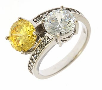 Malina Two Stone 2 Carat Each Cubic Zirconia Round Bypass Pave Solitaire Engagement Ring