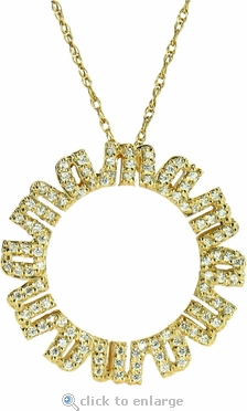 Mama Pave Set Round Cubic Zirconia Mother Pendant