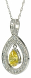 Marbella Halo Pear Cubic Zirconia Pave Set Round Pendant