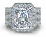 Marcella 5.5 Carat Emerald Radiant Cut Halo Engraved Engagement Ring with Two Matching Bands