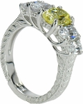 Mariposa 1 Carat Oval Lab Created Canary Center Cubic Zirconia Antique Estate Style Ring