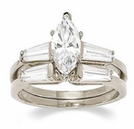 Marquise Cubic Zirconia Baguette Solitaire with Matching Band Wedding Sets