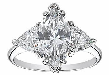 Marquise with Trillions Three Stone Cubic Zirconia Engagement Rings
