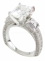 Martina 4 Carat Cubic Zirconia Emerald Radiant Cut Princess Cut and Pave European Shank Solitaire