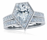 Marvela 2 Carat Pear Cubic Zirconia Pentagon Shaped Halo Cathedral Wedding Set