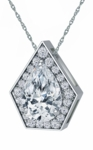 Marvela 2 Carat Pear Cubic Zirconia Pentagon Shaped Halo Pendant
