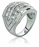 Massimo Round Cubic Zirconia Princess Cut Wide Channel Set Anniversary Band