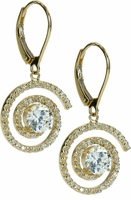 Maxie Cubic Zirconia .75 Carat Round Pave Swirled Drop Earrings