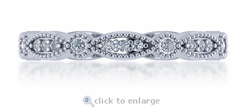 Maxine Mini Marquise Shaped Round Cubic Zirconia Bezel Milgrain Eternity Band