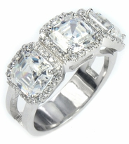 Mayfair 1 Carat Each Asscher Cut Cubic Zirconia Halo Pave Set Three Stone Engagement Ring