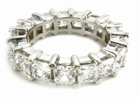 Medium .35 Carat Each Cubic Zirconia Princess Cut Shared Prong 14k White Gold Eternity Band Size 5.5
