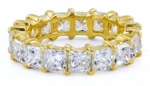 Medium .35 Carat Each Cubic Zirconia Princess Cut Shared Prong 14k Yellow Gold Eternity Band Size 5
