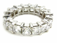Medium .35 Carat Each Princess Cut Cubic Zirconia Shared Prong Set Eternity Band