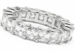 Medium .50 Carat Each Asscher Cut Cubic Zirconia Prong Set Eternity Band