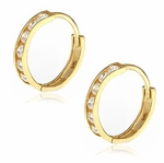 Medium Mini Cubic Zirconia Round Channel Set Hoop Earrings