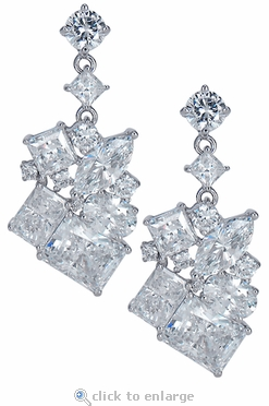 Melange Cubic Zirconia Cluster Drop Earrings