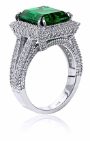 Melania 7 Carat Emerald Cut Cubic Zirconia Halo Micro Pave Set Round Split Shank Double Prong Engagement Ring