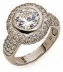 Metcalf 3.5 Carat Round Bezel Set Cubic Zirconia Halo Pave Encrusted Ring