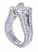 Metropolitan 2.5 Carat Princess Cut Cubic Zirconia Pave Split Shank Engagement Ring