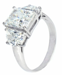 Mezza Luna 2.5 Carat Radiant Emerald Cut With Half Moons Cubic Zirconia Three Stone Engagement Ring
