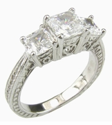 Mia Three Stone 1 Carat Princess Cut Engraved Cubic Zirconia Anniversary Ring