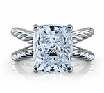 Michellene 5.5 Carat Elongated Cushion Cut Twisted Rope Style Split Shank Cubic Zirconia Engagement Ring