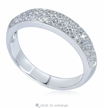 Micro Pave Set Cubic Zirconia Three Row Anniversary Wedding Band 14K White Gold