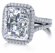 Milano 7 Carat Cubic Zirconia Emerald Cut Micro Pave Halo Engagement Ring