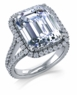 Milano 7 Carat Cubic Zirconia Emerald Step Cut Micro Pave Halo Engagement Ring
