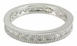 Milgrain Channel Set Round Cubic Zirconia Eternity Band