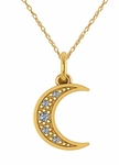 Mini Crescent Moon Pave Set Cubic Zirconia Charm Pendant