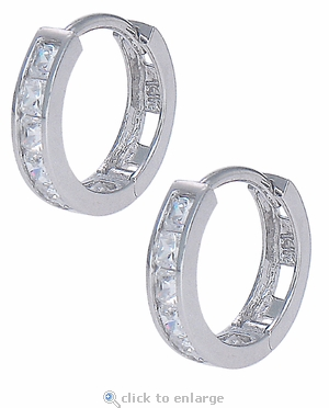 Mini Princess Cut Cubic Zirconia Channel Set Hoop Earrings
