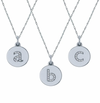Mini Vanity Tag Cubic Zirconia Initial Lower Case Monogram Circular Disc Pendant