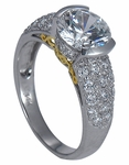Mirabella 2 Carat Round Cubic Zirconia Semi Bezel Pave Engagement Ring