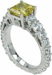 Mistral 1.5 Carat Canary Princess Cut Cubic Zirconia Graduated Round Engagement Ring
