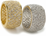 Modena Pave Set Round Cubic Zirconia Wide Wedding Band