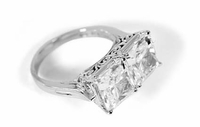 Modernia 2.5 Carat Each Princess Cut Square Cubic Zirconia Estate Style Ring