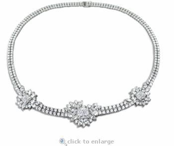 Monacco Princess Cut Marquise Round Cubic Zirconia Cluster Statement Necklace