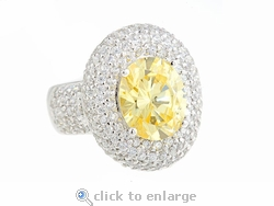 Monroe 3.5 Carat Oval Lab Created Canary Cubic Zirconia Pave Set Round Halo Ring